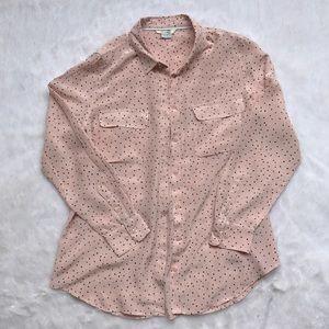 Boden Pink Silk Polka Dot Blouse